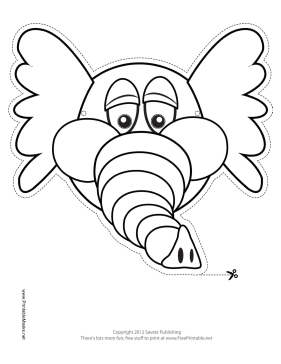 Elephant Mask to Color Printable Mask