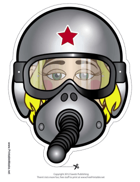 Female Fighter Pilot Mask Printable Mask
