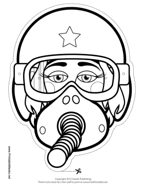 Female Fighter Pilot Mask to Color Printable Mask