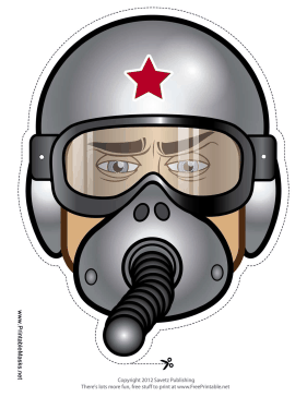 Male Fighter Pilot Mask Printable Mask
