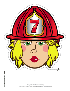 Female Firefighter Mask Printable Mask