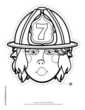 Female Firefighter Mask to Color Printable Mask