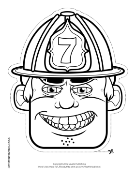 Male Firefighter Mask to Color Printable Mask