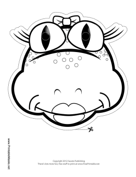 Frog with Bow Mask to Color Printable Mask