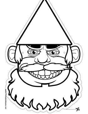 Gnome with Beard Mask to Color Printable Mask