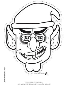Male Goblin Mask to Color Printable Mask