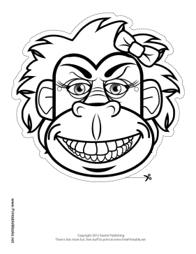 Gorilla with Bow Mask to Color Printable Mask