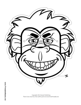 Gorilla Mask to Color Printable Mask