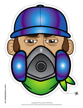 Male Graffiti Artist Mask Printable Mask