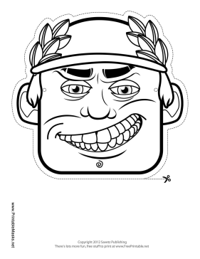 Male Greek Mask to Color Printable Mask