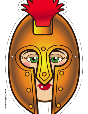 Female Greek Warrior Mask Printable Mask