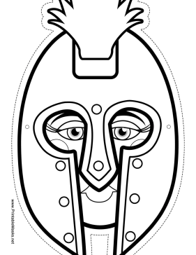 Printable female greek warrior mask to color mask for Spartan mask template