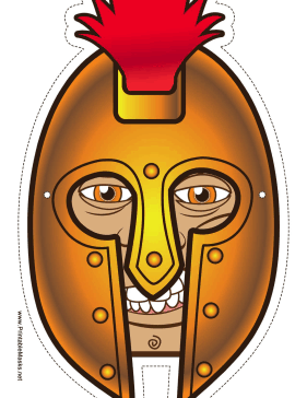 Male Greek Warrior Mask Printable Mask