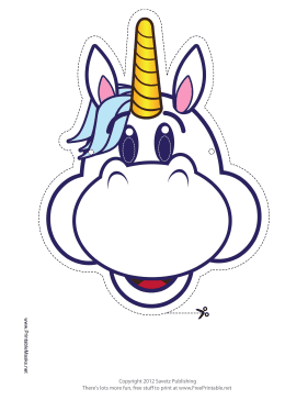 Happy Unicorn Mask Printable Mask