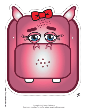 Hippo with Bow Mask Printable Mask