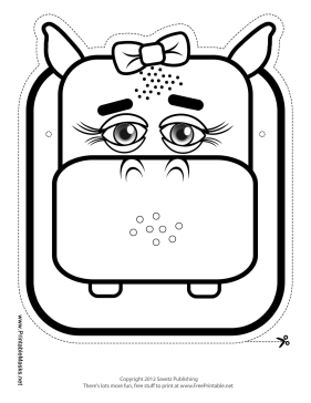 Hippo with Bow Mask to Color Printable Mask