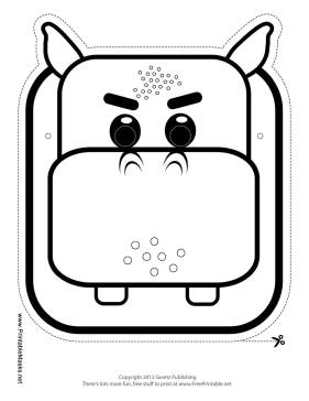 Hippo Mask to Color Printable Mask