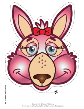 Kangaroo with Bow Mask Printable Mask