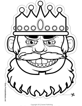 Grinning King Mask to Color Printable Mask