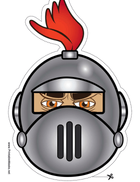 Knight with Crest Round Mask Printable Mask
