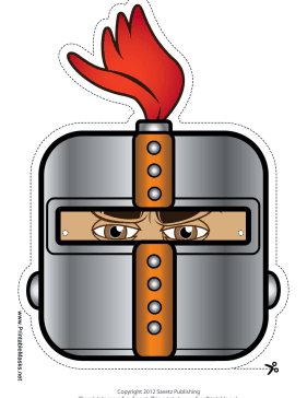 Knight with Crest Square Mask Printable Mask