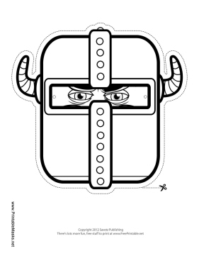 Knight with Horns Mask to Color Printable Mask