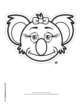 Koala with Bow Mask to Color Printable Mask