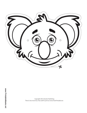 Koala Mask to Color Printable Mask
