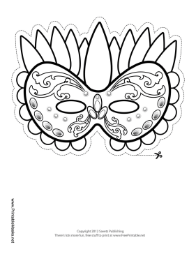 Mardi Gras Celebration Mask to Color Printable Mask