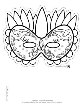 Printable festive mardi gras mask to color mask festive mardi gras mask to color printable mask pronofoot35fo Images