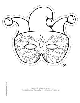 Mardi Gras Jester Mask to Color Printable Mask