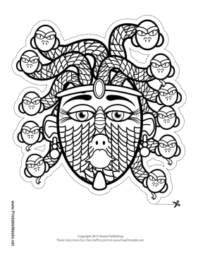 Printable medusa mask to color mask for Ancient greek mask template