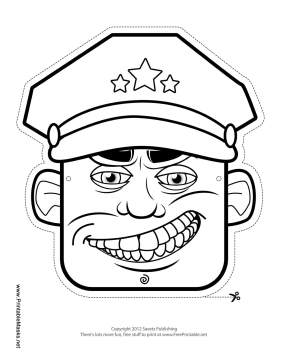 Male Military Officer Mask to Color Printable Mask
