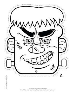 frankenstein monster mask to color printable mask