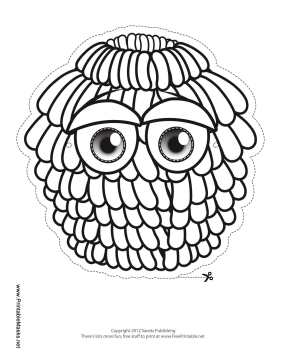 Fur-Covered Monster Mask to Color Printable Mask