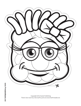Grinning Monster with Bow Mask to Color Printable Mask