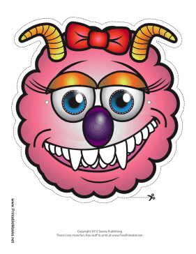 Monster with Horns with Bow Mask Printable Mask