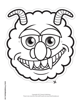 printable monster with horns mask to color mask