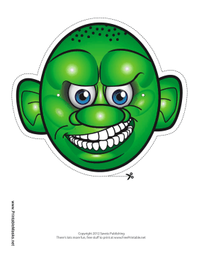 Monster with Round Head Mask Printable Mask
