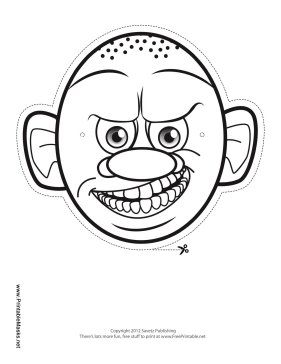 Monster with Round Head Mask to Color Printable Mask