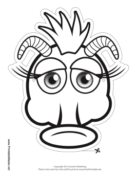 Silly Monster with Horns Mask to Color Printable Mask