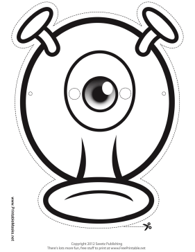 Silly One-Eyed Monster Mask to Color Printable Mask