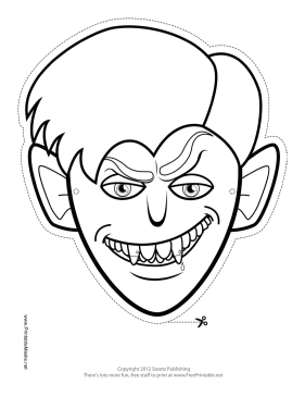 Vampire Monster Mask to Color Printable Mask
