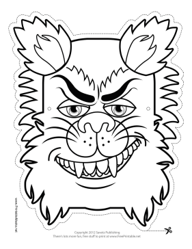 Wolfman Monster Mask to Color Printable Mask