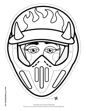 Female Motocross with Horns Mask to Color Printable Mask