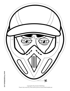 Male Motocross Mask to Color Printable Mask