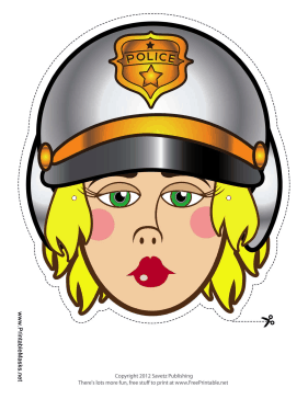 Female Motorcycle Cop Mask Printable Mask