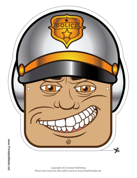 Male Motorcycle Cop Mask Printable Mask