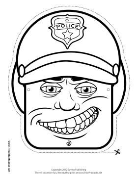 Male Motorcycle Cop Mask to Color Printable Mask
