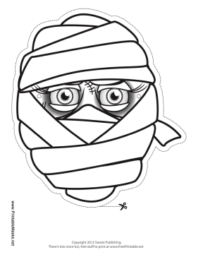 Female Mummy Mask to Color Printable Mask